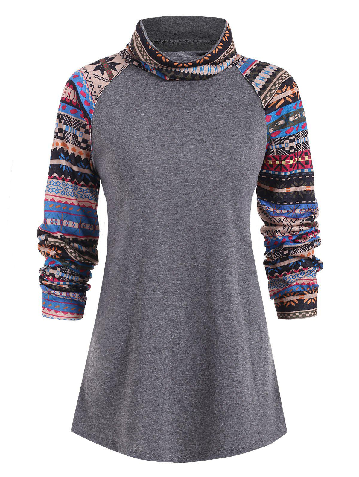 Fashion Turtle Neck Ethnic Print Top
