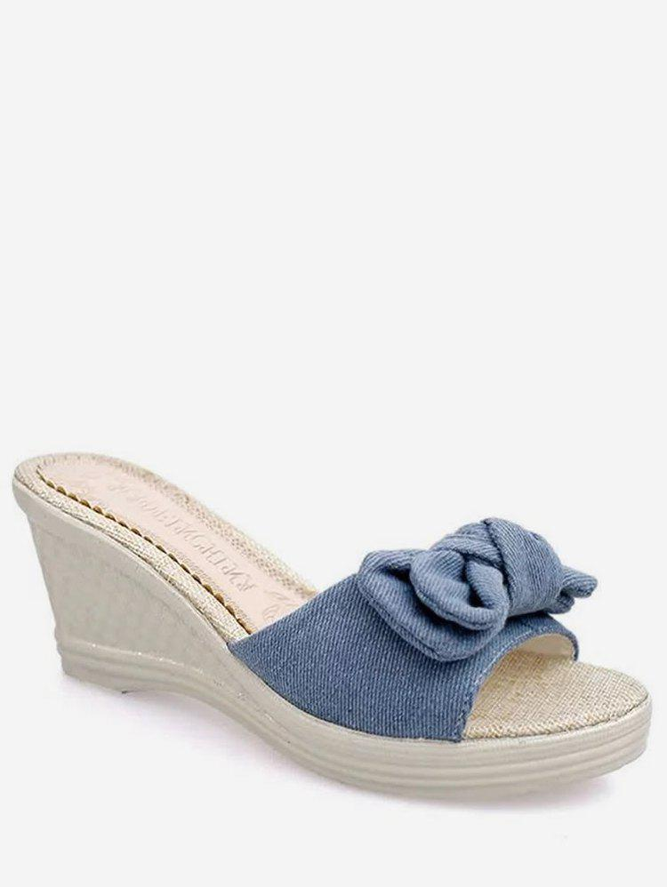 Fancy Bowknot Wedge Heel Summer Slippers