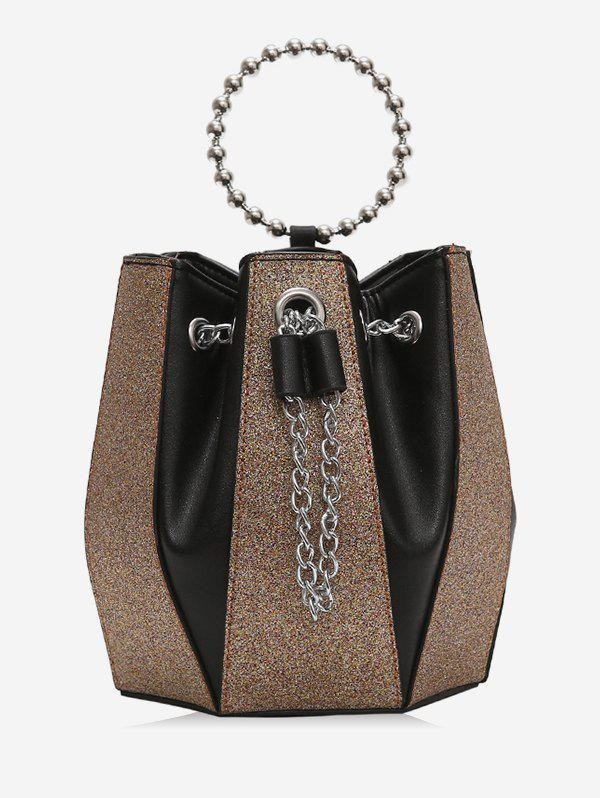 Outfits Leather Joint Bucket Chain Shoulder Bag