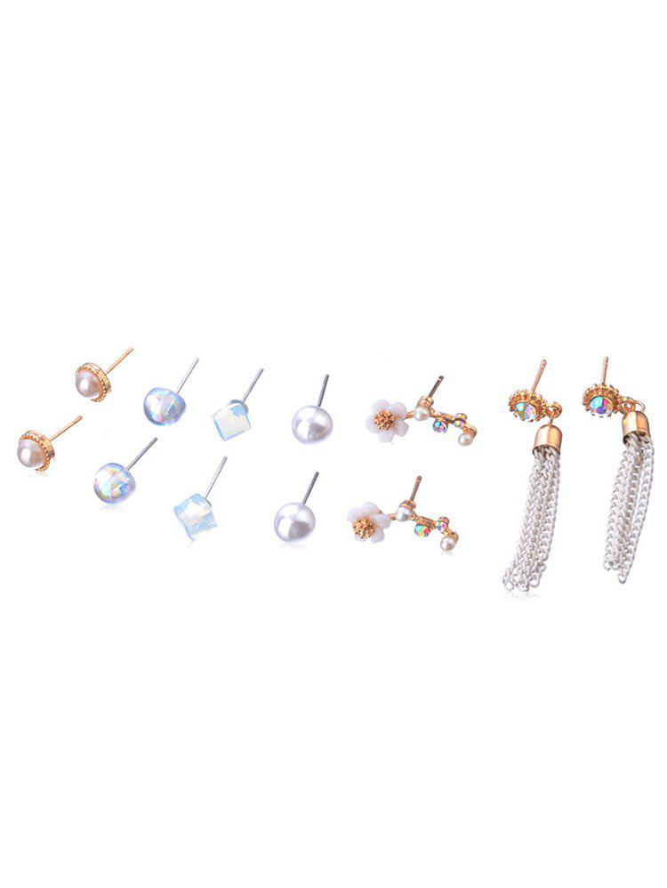 Outfit Faux Pearl Rhinestone Inlaid Earrings Set