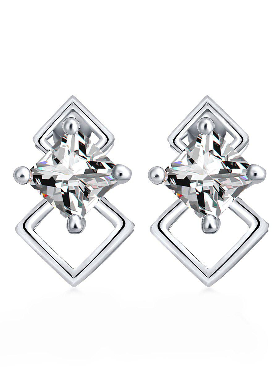 Best Rhombus Shape Rhinestone Stud Earrings