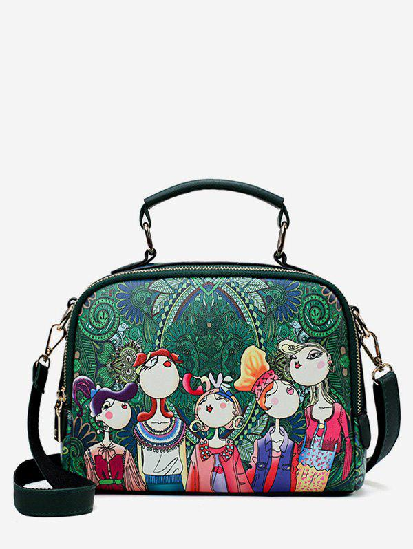 Outfit Forest Top Handle Printed Square Crossbody Bag