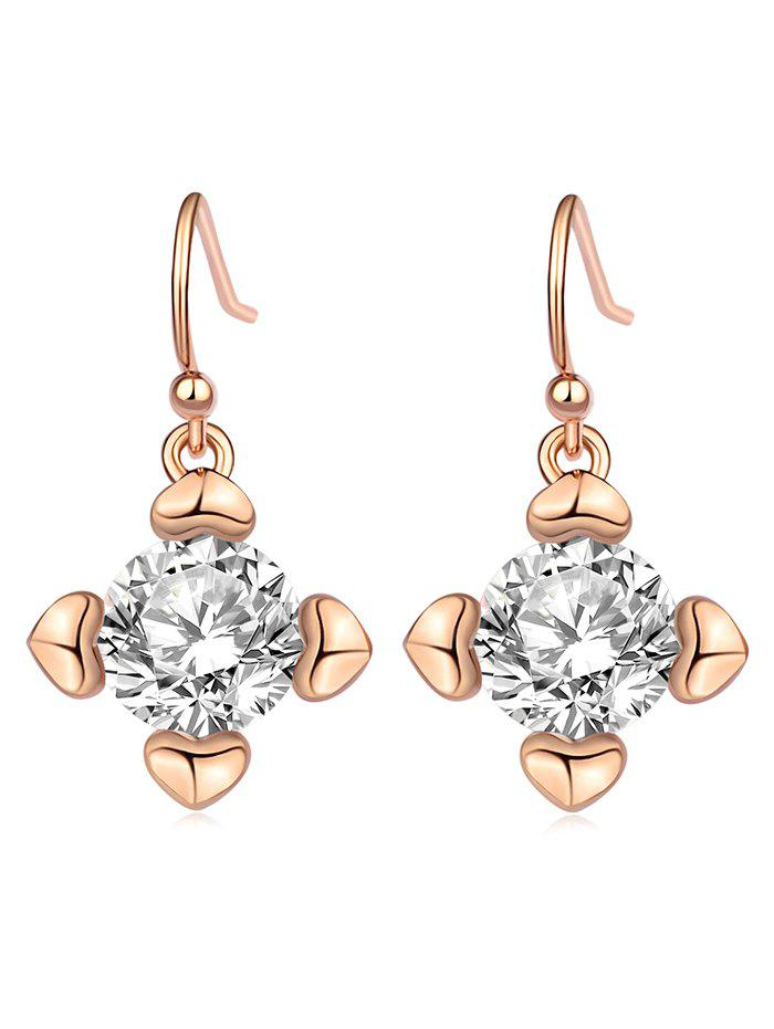 Hot Heart Shape Rhinestone Drop Hook Earrings