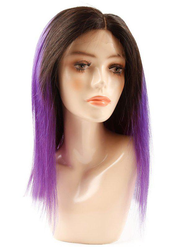Trendy Medium Human Hair Ombre Straight Lace Front Wig