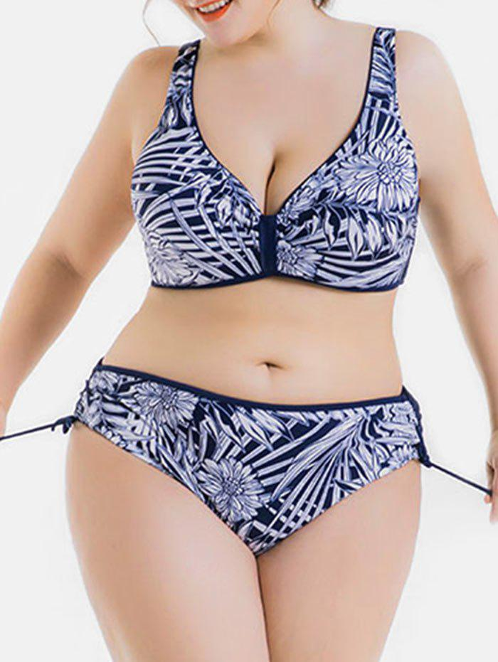 Shops Plus Size Tropical Print Push Up Bikini Set