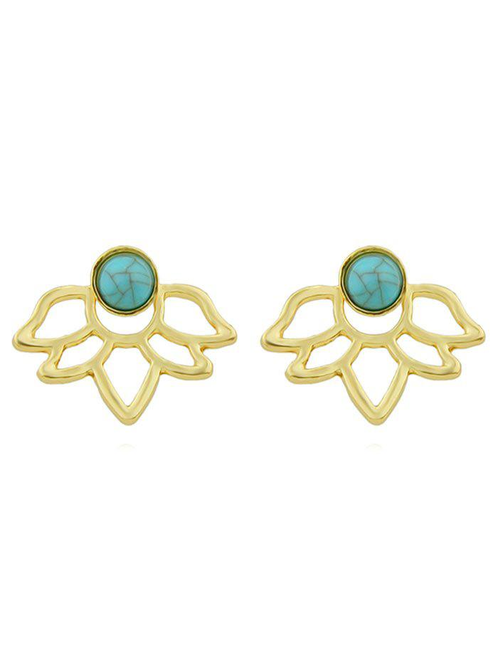 Outfit Turquoise Floral Shape Hollowed Earrings
