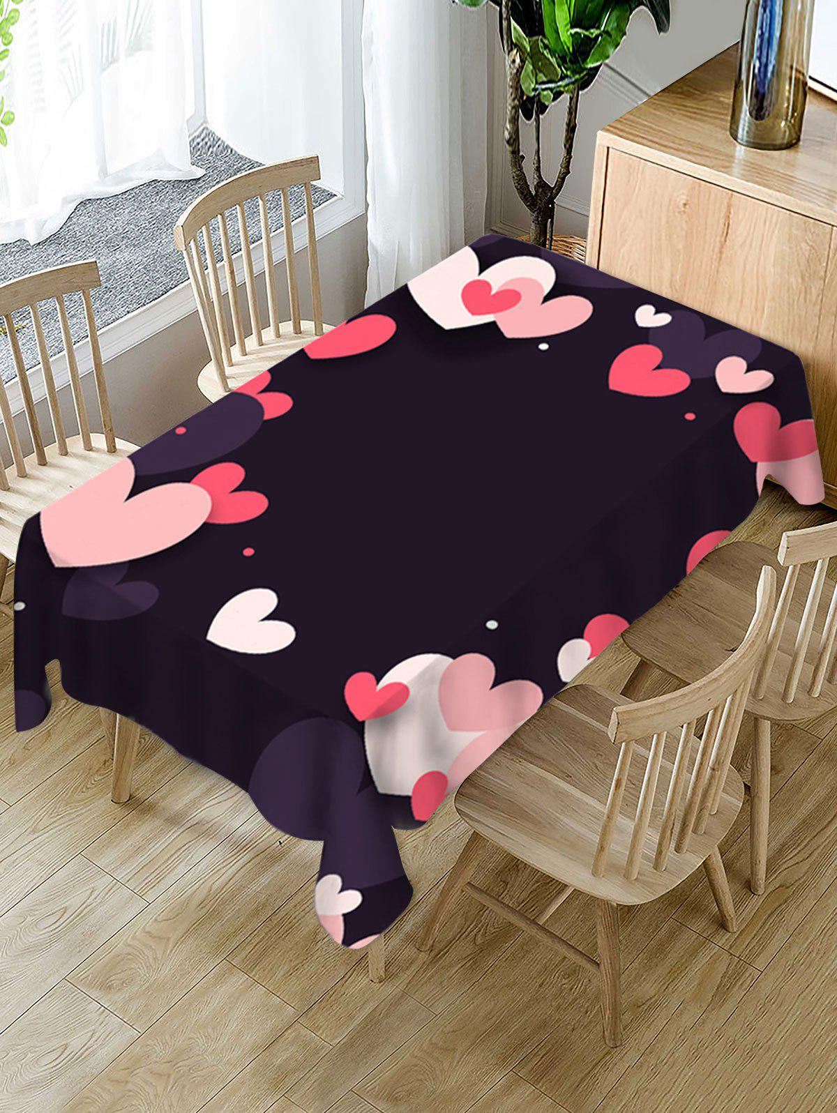 Buy Valentines Day Heart Print Waterproof Tablecloth