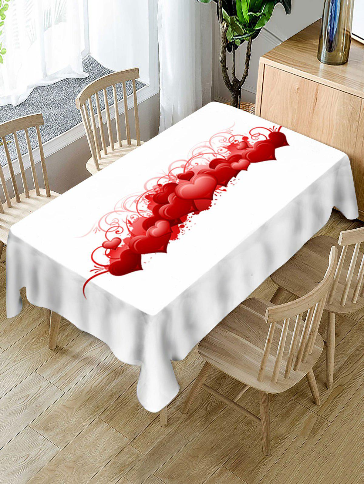 New Valentines Day Hearts Print Fabric Waterproof Tablecloth