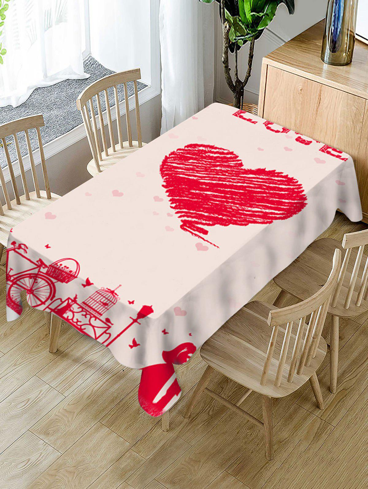 Shop Valentines Day Love Heart Print Fabric Waterproof Tablecloth