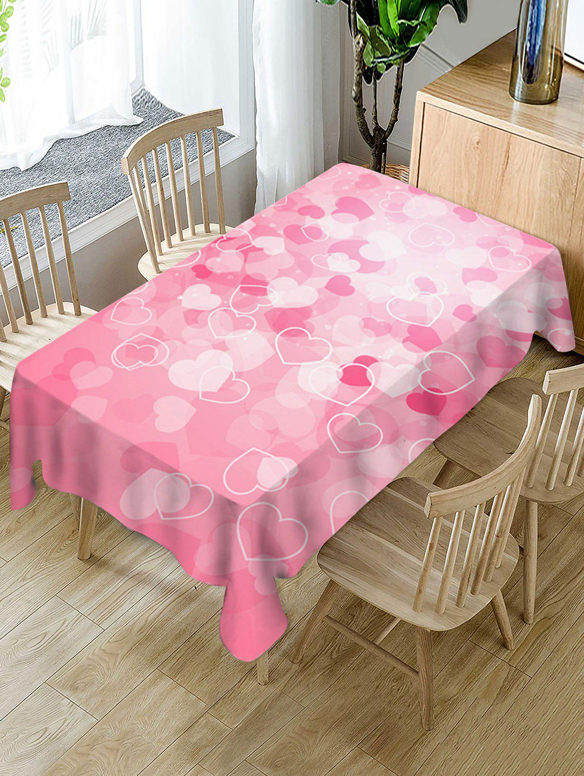 Trendy Valentines Day Hearts Print Waterproof Tablecloth