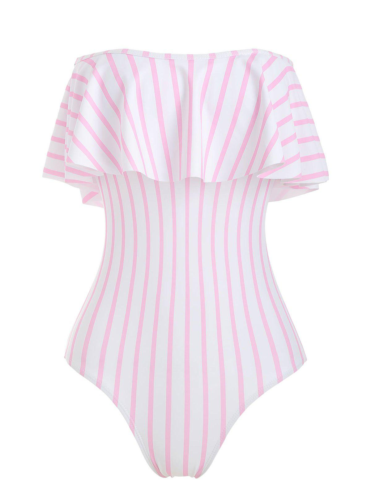 Best Off The Shoulder Striped Ruffled One-piece Swimsuit
