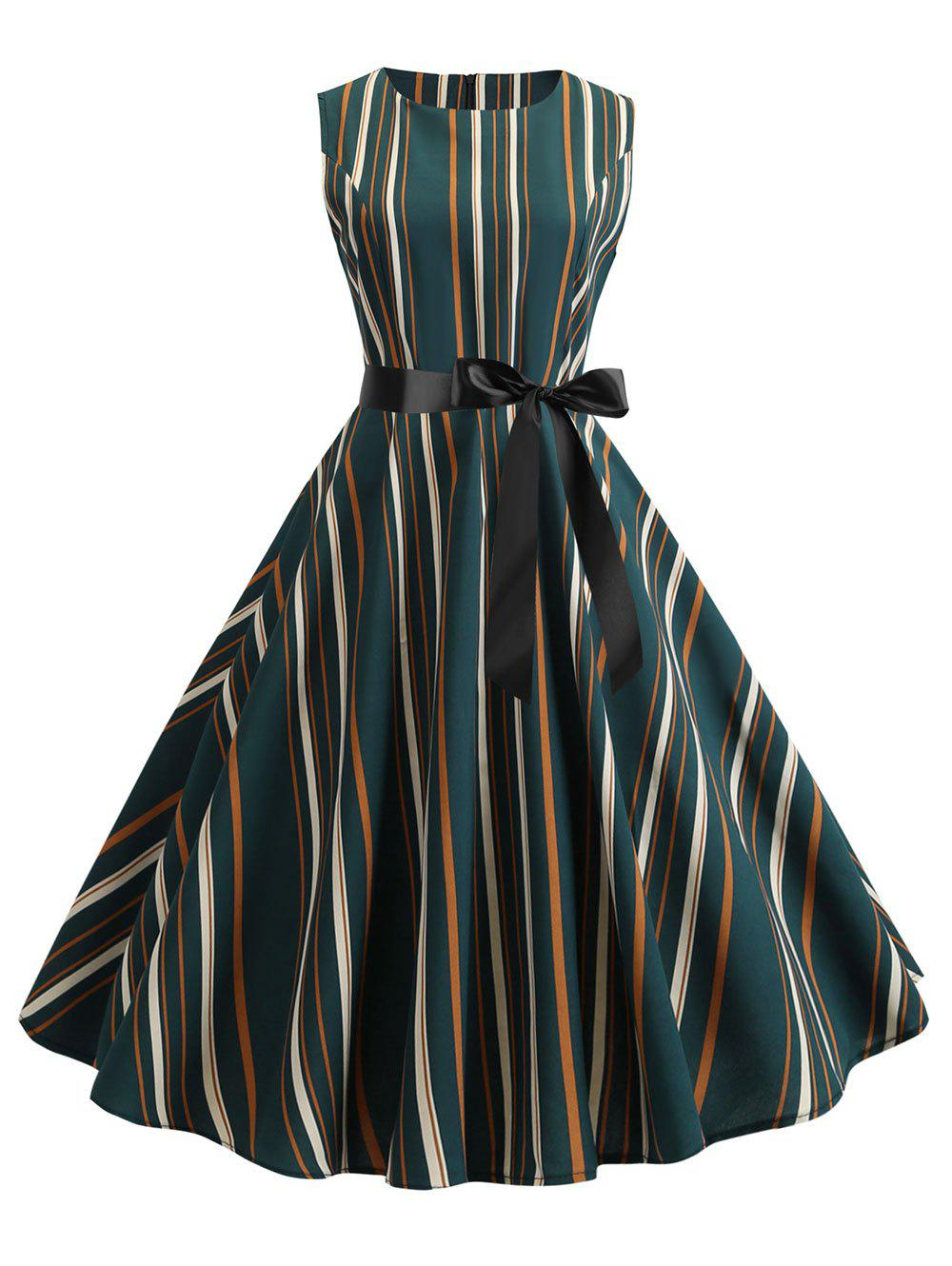 Unique Striped Vintage Fit and Flare Dress