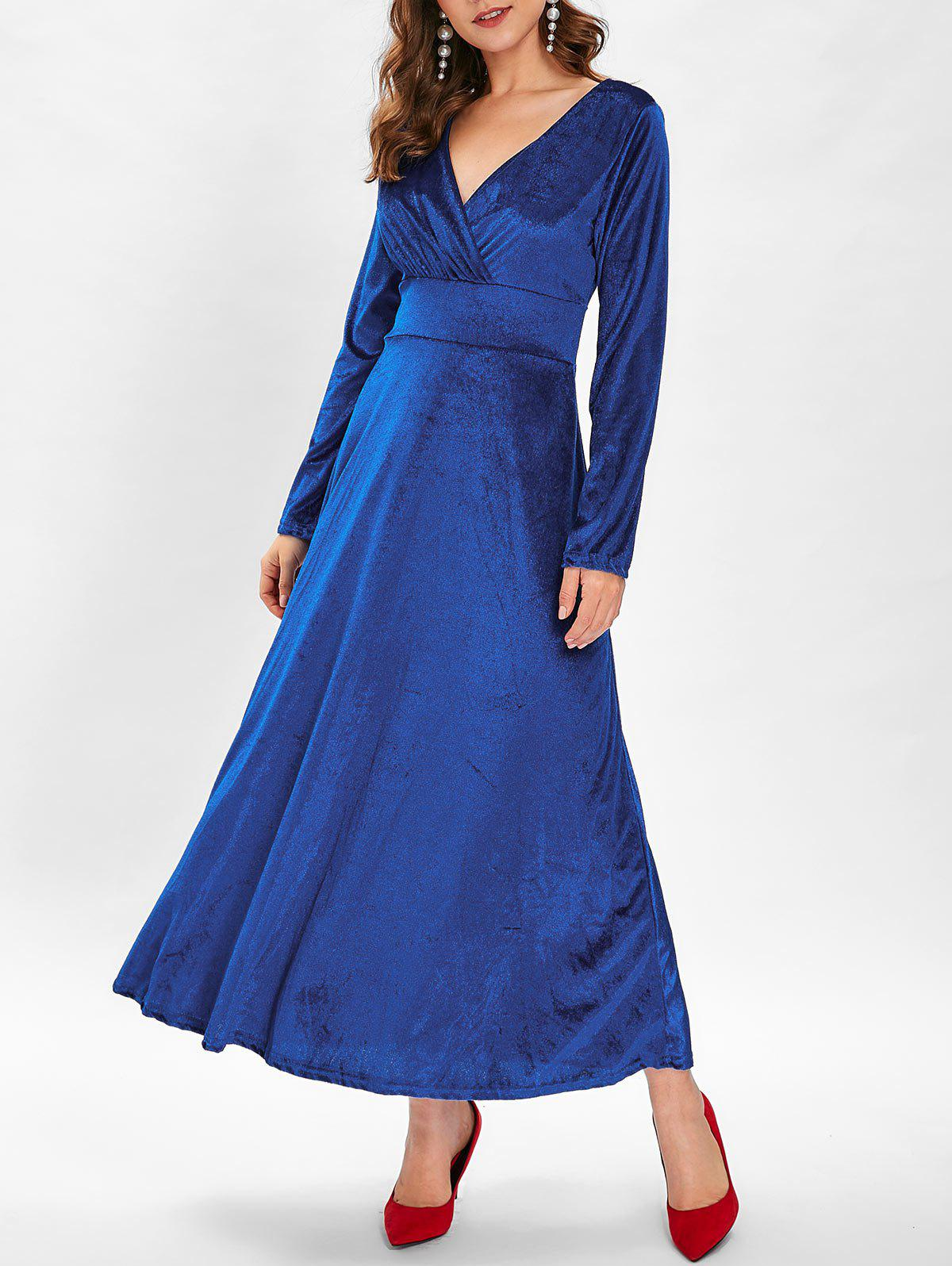 Chic Long Sleeve Velvet Maxi Party Dress