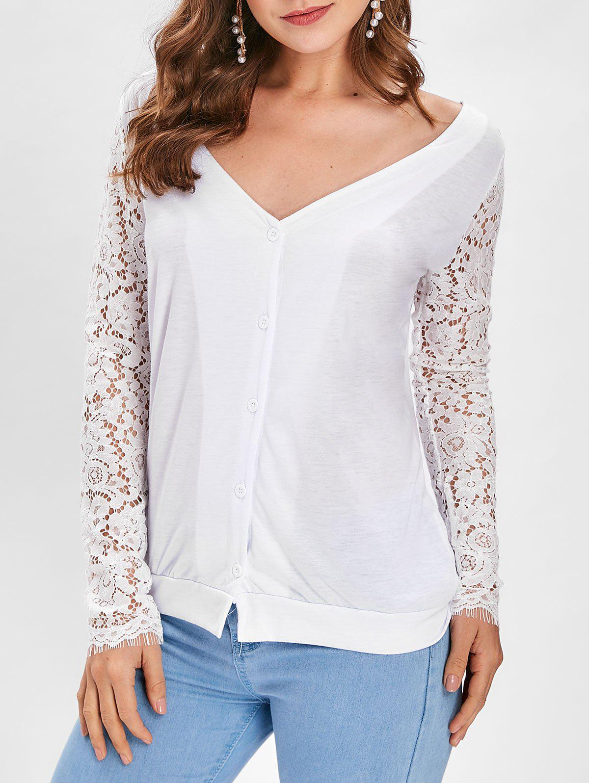 Shops Button Up Lace Panel Long Sleeve Top