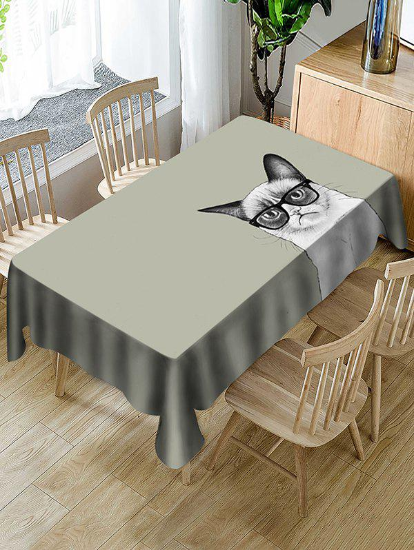 Hot Cat In Glasses Print Fabric Waterproof Tablecloth