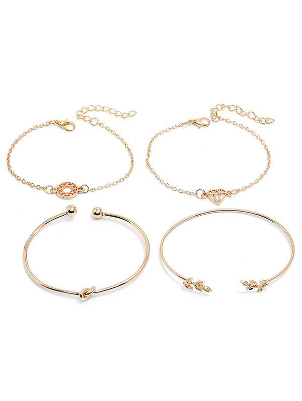 Buy Leaves Diamond Shape Alloy Bracelets Set