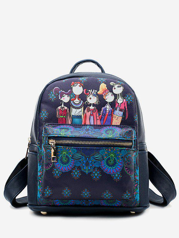 Store Forest PU Student Pattern Soft Backpack