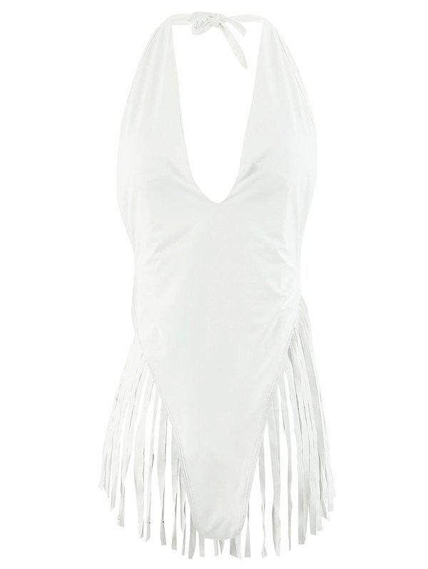 Outfit Fringes High Leg Halter Swimsuit