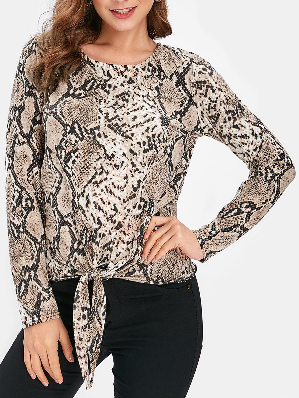Online Snake Print Long Sleeve Knotted Top