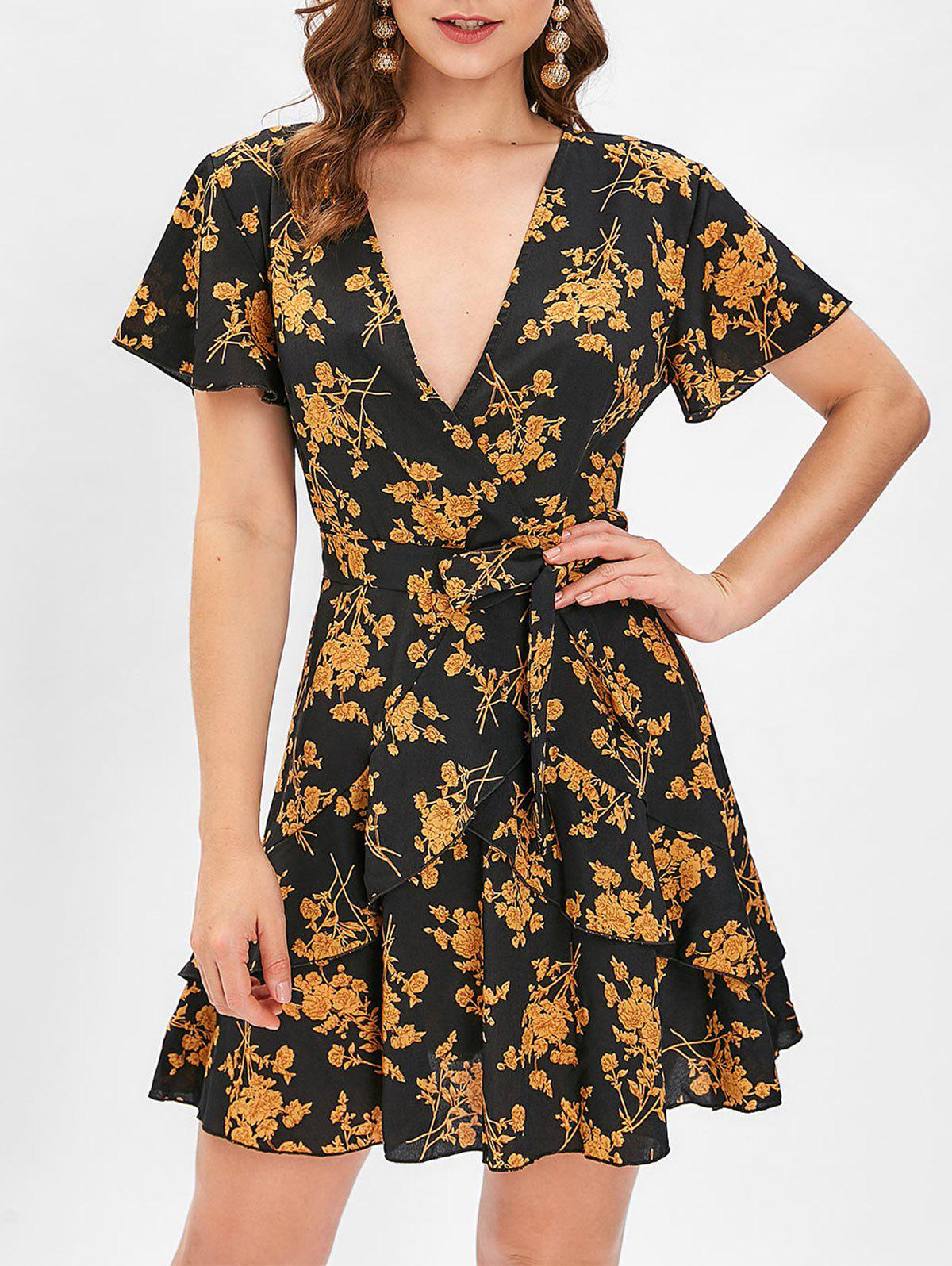 Unique Floral Print Ruffled Mini Surplice Dress