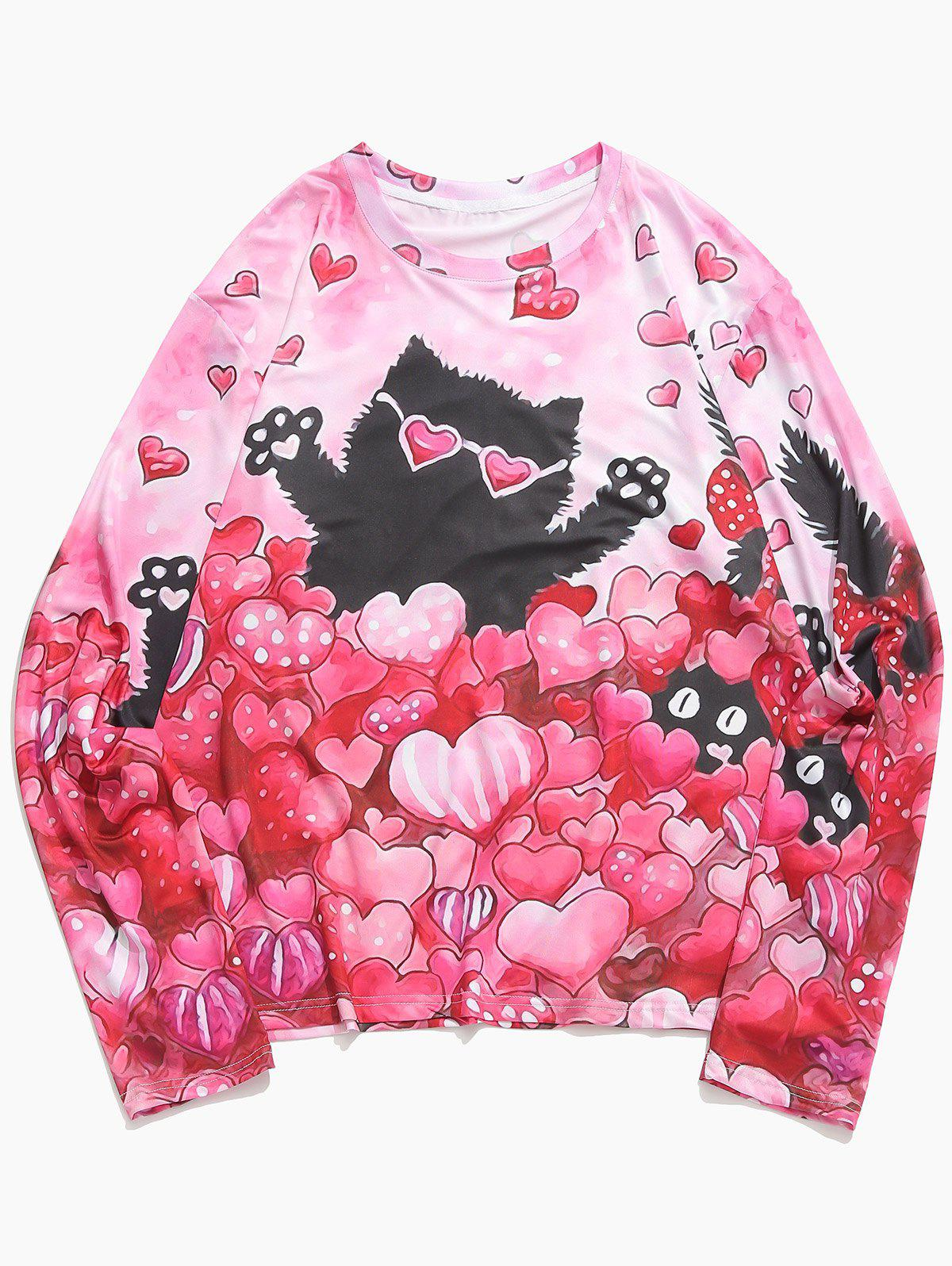Outfit Valentine's Day Hearts Cat Print Casual T-shirt