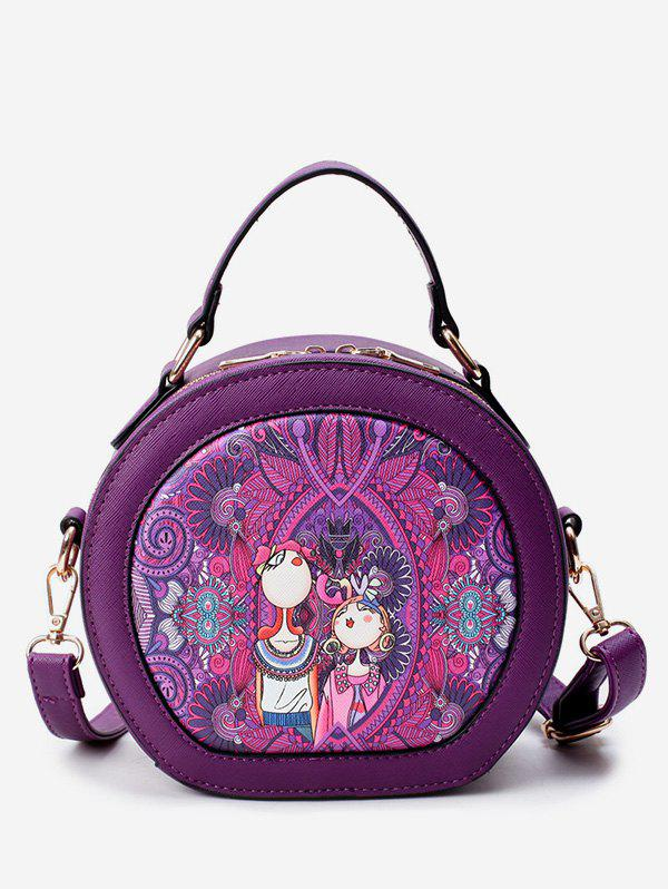 Outfit Printed Top Handle Round Crossbody Bag