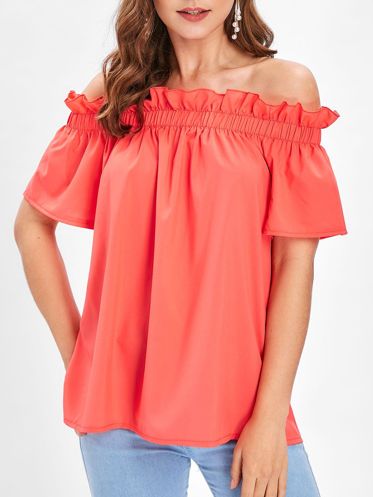 24009c0dbd130 39% OFF   2019 Ruffle OFF The Shoulder Solid Top