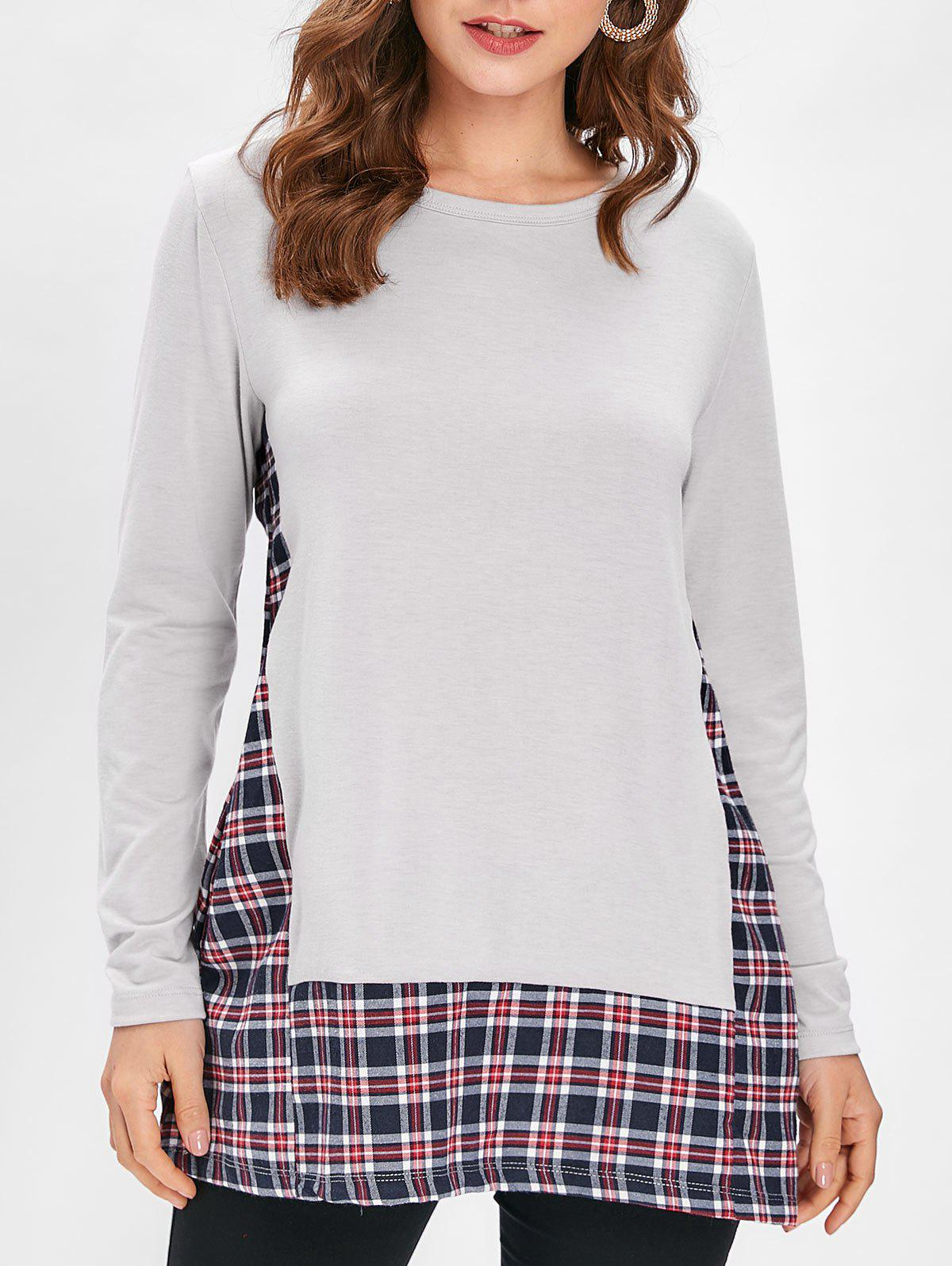 Online Checked Panel Long Sleeve Top