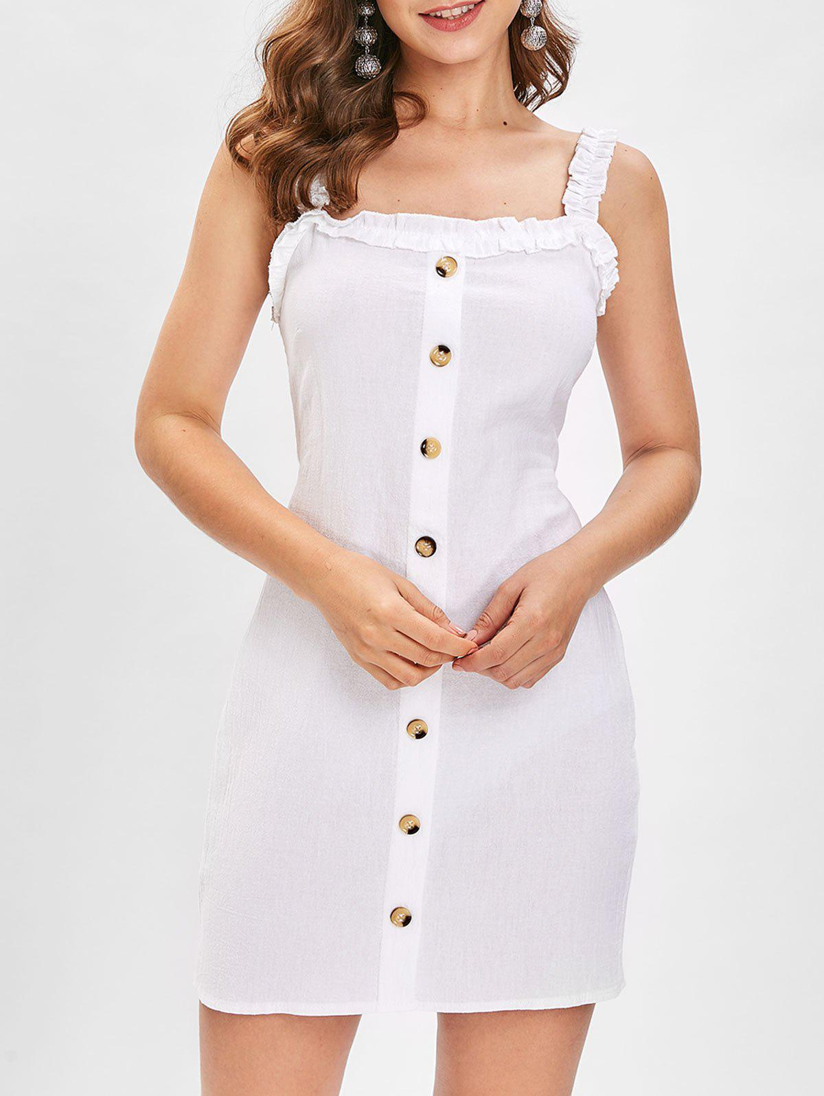 Store Buttons Back Tie Cut Out Dress