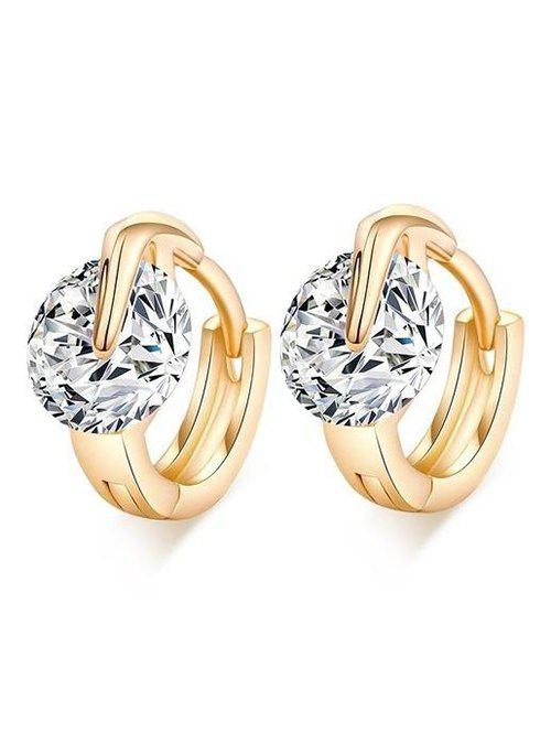 Sale Simple Luxury Zircon Shiny Hoop Earrings