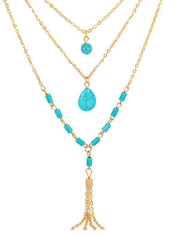 Sale Multi Layered Turquoise Chain Necklace