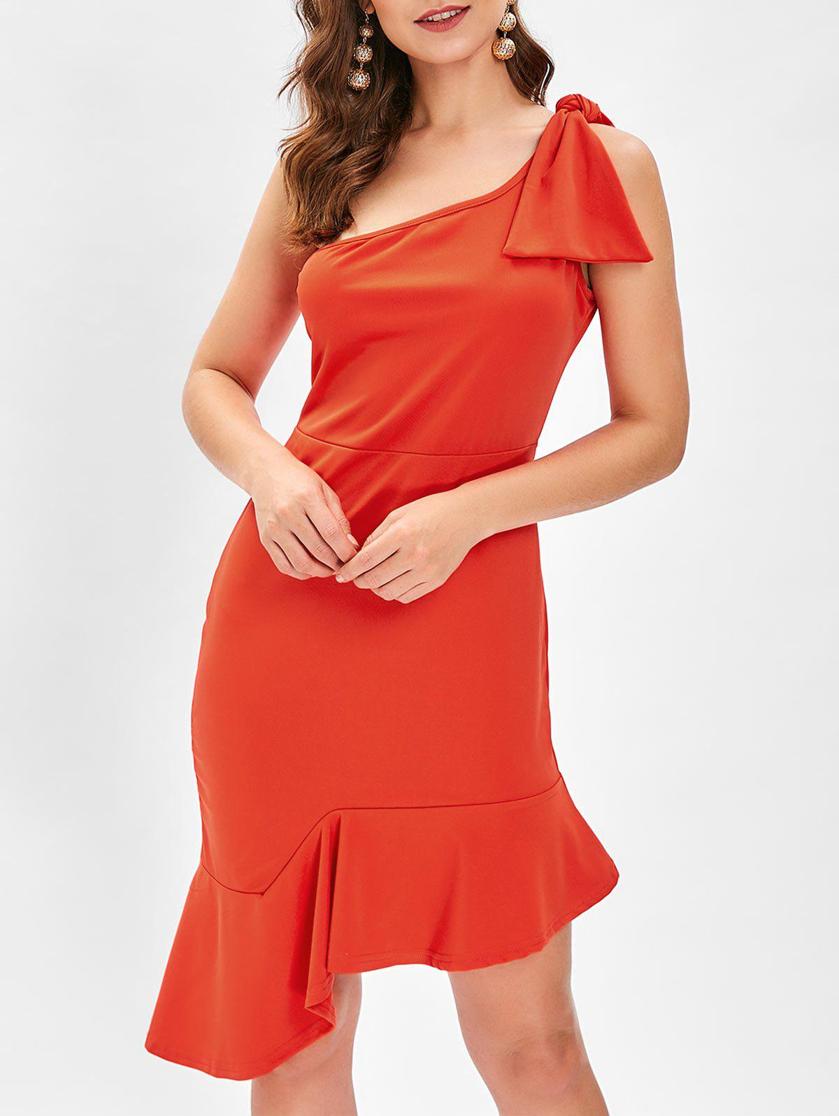 Store One Shoulder Bowknot Fishtail Dress