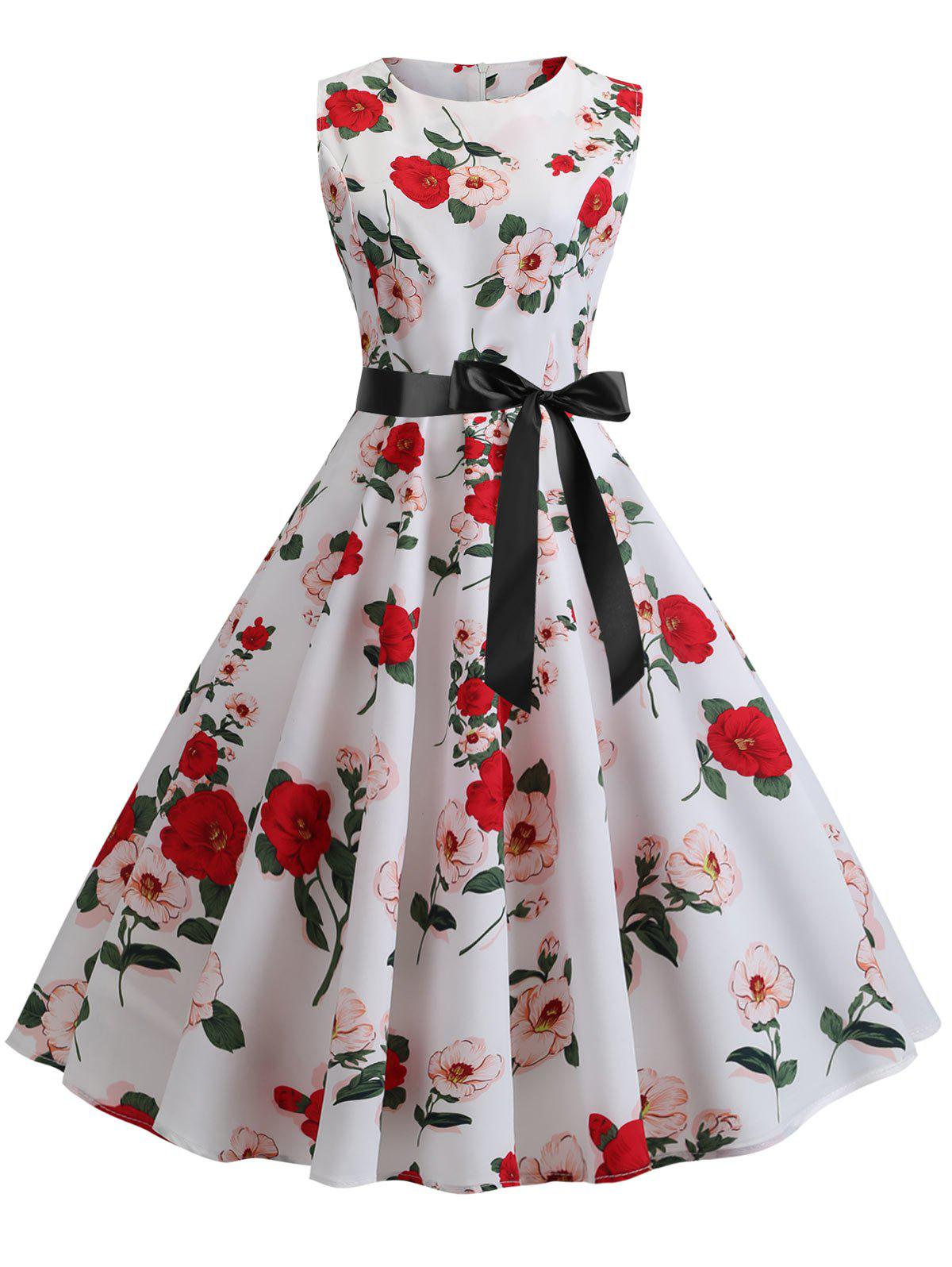 Outfits Floral Retro Fit and Flare Dress