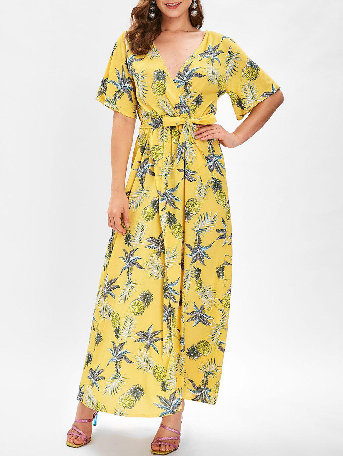 Shop Short Sleeve Pineapple Print Warp Dress