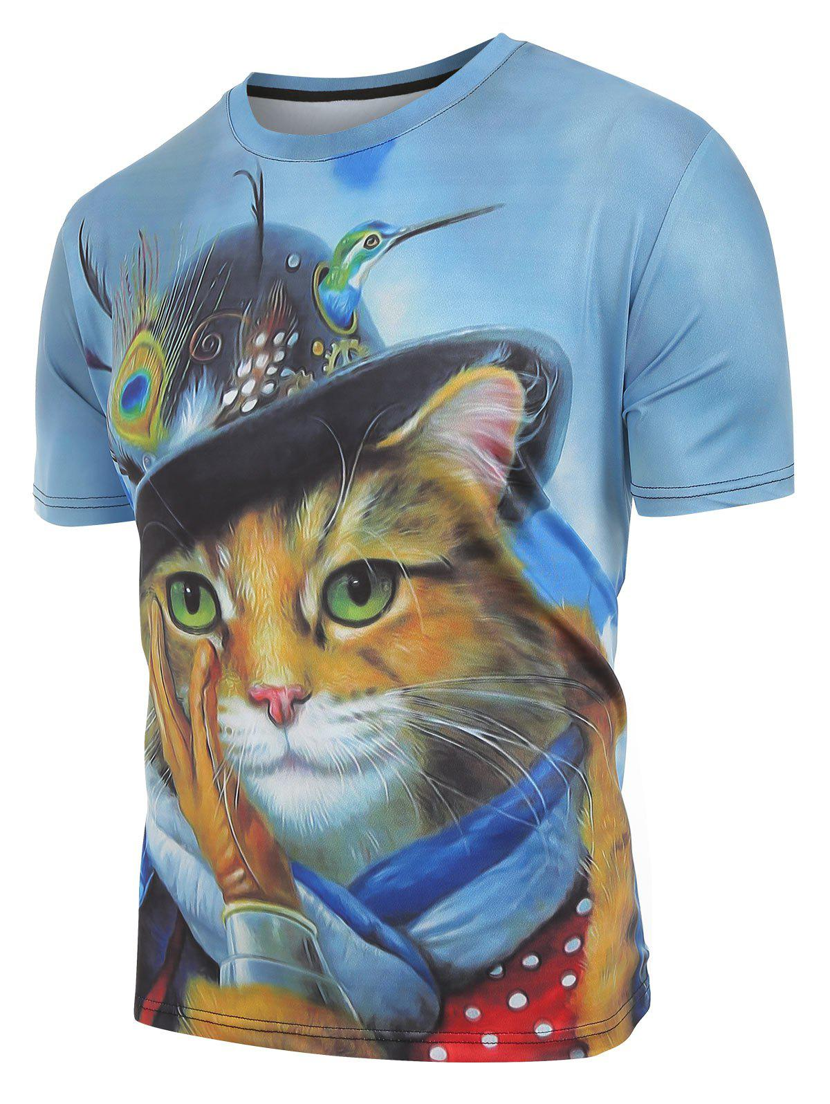 Fancy Cat with Cap Print Casual Short Sleeves T-shirt