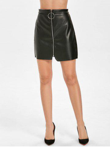 Front Zip Faux Leather Skirt