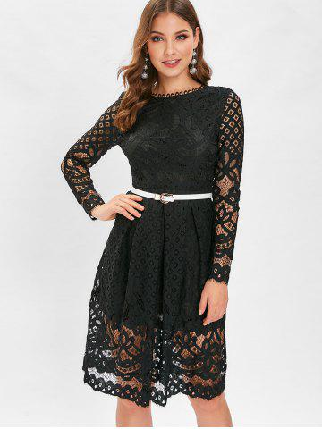 Belted Lace A Line Dress