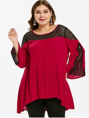Plus Size High Low Lace Insert Blouse