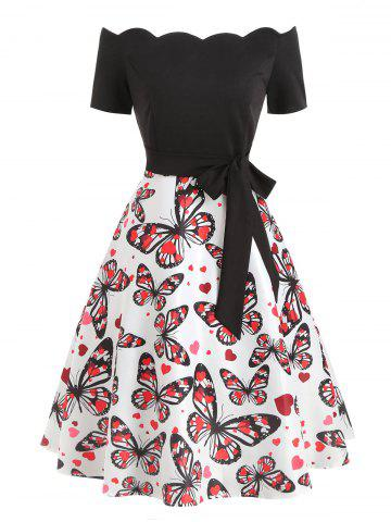 Vintage Scalloped Butterfly Print Dress