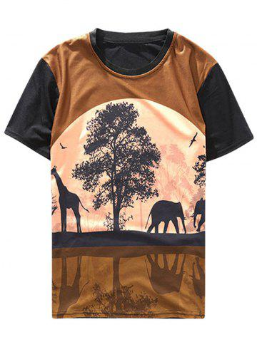 Moon Night Prairie Scenery Reflection Print Casual T-shirt
