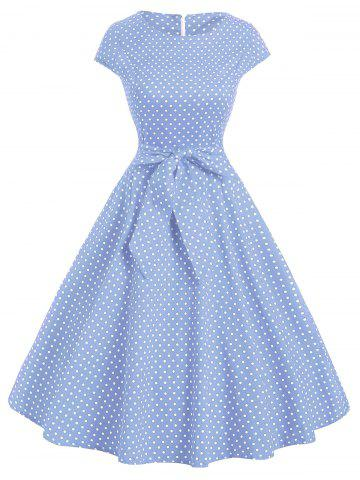 Polka Dot Cap Sleeve Belted Dress
