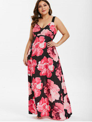 05b3f89f856 V Neck Plus Size Floral Print Chiffon Maxi Dress