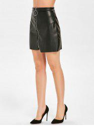 Front Zip Faux Leather Skirt -