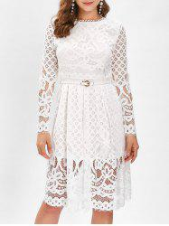 Belted Lace A Line Dress -