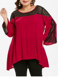 Plus Size High Low Lace Insert Blouse -