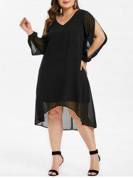 Split Sleeve High Low Plus Size Midi Dress -