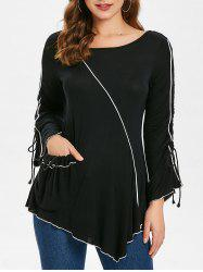 Long Sleeve Contrast Pockets Asymmetrical T-shirt -