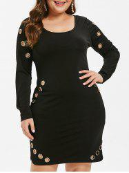 Long Sleeve Plus Size Grommet Detail Bodycon Dress -