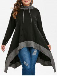 Drop Shoulder Plus Size High Low Hoodie -