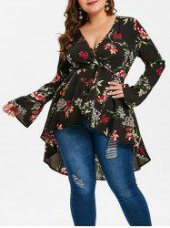 Plus Size Printed Dip Hem Wrap Blouse -
